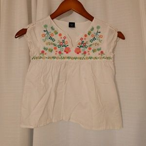 Gap kids Girls colorful embroidered boho top small